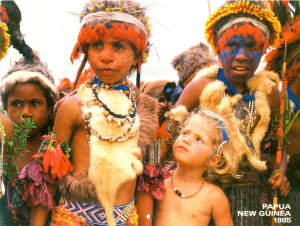 Nichola Goddard amongst the tribespeople of Papua New Guinea, 1985